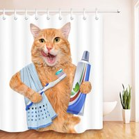 Bathroom Cat Printing Shower Curtain Decor 3D Print Animal Cats Pattern Waterproof Polyester Fabric Washable Bath Curtains with 12 Hooks