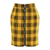 Grid Front O ring zipper high waist skirt Slim Plaid Bodycon Mini Skirt Fashion women dresses clothes will and sandy new