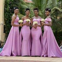 Afrykańskie kobiety Syrenki Druhna Dresses 2021 Lilac Satynowy Długi One Ramię Wedding Party Sukienka Maid of Honor Prom Evenors Suknie