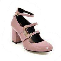 큰 크기 봄 여성 펌프 두꺼운 블록 하이힐 특허 가죽 라운드 발가락 가을 사무실 드레스 파티 신부 레드 레이디 신발 34-43 210610 D1OB