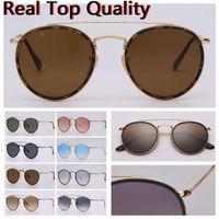 Мужские солнцезащитные очки Солнцезащитные очки Поляризованные / Неопланированные круглый двойной мост с кожаным корпусом, тканью и всеми аксессуарами Retail Package!