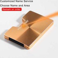 DIENQI Rfid Credit Card Holder Men Minimalist Metal Wallet 2021 Business Bank Cardholder Case Magsafe Front Pocket Wallet Name