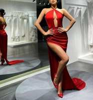 Mermaid Evening Dresses 2021 Halter Neck Robe De Soiree Side Split Prom Dresses Sexy Vestido De Fiesta De Boda