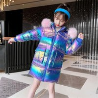 Jackets Girls Warm Fur Collar Thick Coat Winter Long Sleeve Hooded Jacket Children Cotton-Padded Kids Outwear Clothes
