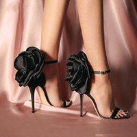 الصيف كبير فراشة عقدة النساء الصنادل الأزهار الخنجر أحذية عالية الكعب الكاحل حزام رأ مثير مضخة أحذية الزفاف حجم 35-40
