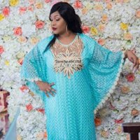 Ethnic Clothing Super Size Bust 148 Cm Style African Women's Dashiki Water-soluble Lace Loose Skirt With Sequins Beads Embroidery Long Dress