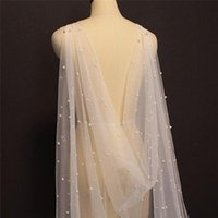 Wraps & Jackets TOPQUEEN G41 Bridal Cape Veil With Pearls Shawl Bolero Capes For Dress Bride Tulle Summer