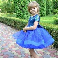 جميل الملكي الأزرق مطرزة تول طفل قصيرة الأكمام عيد ميلاد زهرة فتاة فساتين مع القوس أول فتاة بالتواصل فتاة