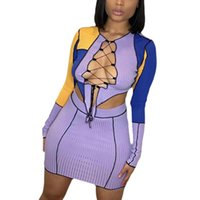 2Pcs Women Patchwork Outfits Sexy Color Block Long Sleeve Round Neck Hollow Out Lace UP Crop Top + Mini Skirt Clubwear Women's Tracksuits