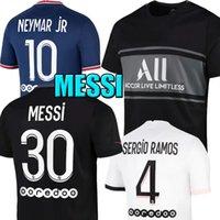 PSG Messi Sergio Ramos Camisas de futebol Wijnaldum Paris Saint Germain Neymar Jr Mbappe Hakimi Maillots Camisa de Futebol Marquinhos Verratti Men Kit Kids Kit