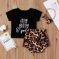 Clothing Sets 0-24M Born Baby Girls Boys Clothes 3pcs Letter Short Sleeve T Shirts Leopard Shorts Headband