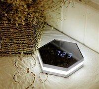 업그레이드 패션 미러 및 LED 알람 시계 터치 컨트롤 LED 야간 조명 디스플레이 전자 데스크탑 디지털 테이블 시계 세면도 199 V2