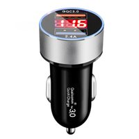 100PCSDHL Dual USB QC3.0 Fast Charging Digital Display LED Car Chargers 5V 2.4A 2USB Ports Aluminum Universal 18W Power Adapter Charger