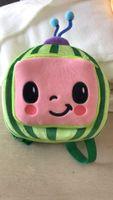 Cocomellon JJ Boys Boys Мультфильм Милый плюшевый рюкзак Детская детская школьная сумка арбуз мини-девчонки сумки пакеты для детей T261EXPY