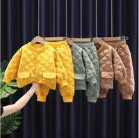 Kids Baby Cotton Clothes Set 2021 New Autumn Winter Boys Girls Jacket Pants 2Pcs Suits Toddler Casual Coat Sets