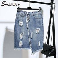 Surmiitro Plus Größe 5XL MIDI-Knielänge Denim Rock Frauen 2021 Frühling Sommerloch Taste Tasche Hohe Taille Große Weibliche Röcke