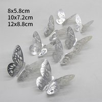 12pcs 3D Butterfly DIY Art Mirror Wall Stickers For Kids Room Party Decor Shop Cabinet Window Display Wedding Home Decal Decorative Flowers