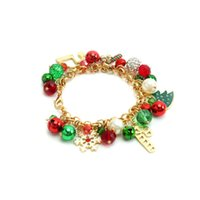 Christmas Jewelry Hanging Pearl Bell Diamond Ball Crystal Bead Snowflake Courtesy Tree Alloy Gift Bracelet 211401