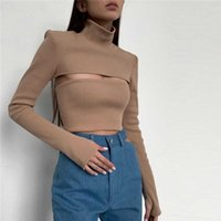 Women's Solid Slim Crop Turtleneck Sweaters 2021 Autumn Long Sleeve Hollow Out Basic Sweater Pullovers Ladies Sexy Fashion Tops G1008
