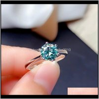 Rings Drop Delivery 2021 Blue Green Moissanite Ring 1Ct 6Dot5Mm Vvs Lab Diamond Tested Passed Fashion Jewelry With Certificate Real 925 Sterl