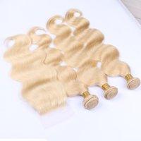 613 러시아 금발 버진 머리카락 3 번들로 4 * 4 레이스 폐쇄 10A 상단 인간의 머리카락 무료 파트 클로저
