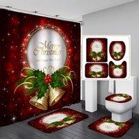 Joyeux Noël Salle de bain Rideau de douche Ensemble de baignoire étanche Rideaux de bain de Noël Noël Tapis de bain de toilette Tapis de piédestal