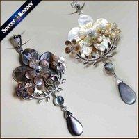 Sorcerhalter Natürliche Mutter der Perle Muschel Wasser Carving Perlen Anhänger Hand Geschnitzte Blume Vintage Kunst Halskette Für Frauen S015