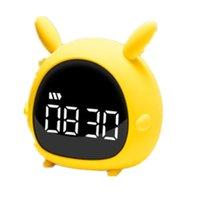 Karikatür Tavşan Müzik Çalar Saat Uyandırma Işık Mini USB Şarj Yatak Odası Akıllı Gece