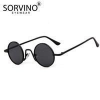Retro Skinny Yuvarlak Sorvino Steampunk Güneş Gözlüğü Erkekler Kadınlar Marka Tasarımcısı Gözlük Lady Erkek Çember Güneş Gözlükleri Gölgeler