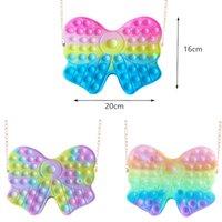 Rainbow Fidget Toy Handbag Macaroon Bubble Chain Bag Purses Kids Boy Girls Novel Cool Design Cross body Fanny Pack Push Sensory Puzzle Toys Early Leaning Education