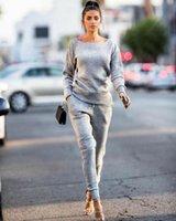Women's Two Piece Pants 2Pcs Women Casual Simple Tracksuit Sweatshirt Solid Tops Jogging Gym Sports Sweat Autumn Suit
