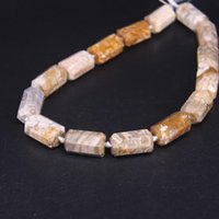 """155""""strand Natural Beautiful Flower Coral Jades Faceted Tube Nugget Loose BeadsCut Chrysanthemum Agates Pendant Jewelry Making"""