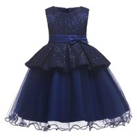 Blume Mädchen Kleid Illusion Sleeveless Tüll Spitze Oansatz Knielange Pailletten Stickerei Navy Blau Kinder Party Prinzessin Kleid F360 Mädchen DRES