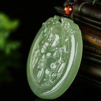 Natural hetiano verde jade colgante jade guanyin buddha jade colgantes collares joyas joyas collar mujeres hombres marca