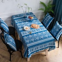 Table Cloth Blue Decoration Cotton Linen Tablecloth Dining Workbench Coffee Cover Kitchen Furniture Dust