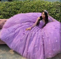 Sparkly Purple Sequins Quinceanera Dresses Ball Gown With Sheer Long Sleeves Sweep Train Plus size Formal Prom Gowns For Sweet 15 16 Girl