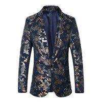 Men's Suits & Blazers 2021 Spring Men Fashion Printed Casual Suit Jacket Slim Fit Wedding Business Dress Coat Streetwear Social Clothing
