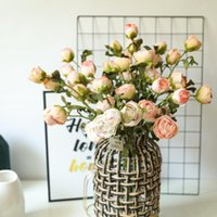 Decorative Flowers & Wreaths 3Pcs lot Rose Artificial Flower Branches Home Table Decoration Fake Plants Wedding Bouquet De Mariage