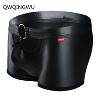 Underpants Sexy Gay Men Boxer Boxershorts PU Leather U Convex Pouch Open Front Male Panties Underwear Classical Plaid Shorts