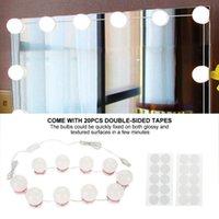 Compact Mirrors Vanity LED Light Bulbs Makeup Mirror Kit USB Charging Port Cosmetic Lighted Make Up Bulb Adjustable Brightness Lights