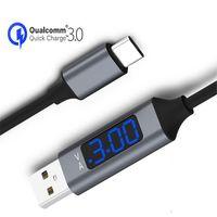 Topk 3A (MAX) Cables de tipo C USB para Samsung Xiaomi CARGA RÁPIDA USB-C Pantalla digital Cable de teléfono móvil con bolsa OPP