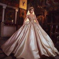 الفاخرة دبي الكرة ثوب الشمبانيا فساتين الزفاف الخامس الرقبة الرباط appliqued مطرز أثواب الزفاف أنيقة العرف مخصص vestidos دي نوفيا