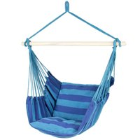 Good choice for Hammock Hanging Rope Chair Porch Swing Seat Patio Camping outside chari Portable Blue Stripe with fast H2CI