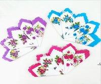 손수건 색깔 초승달 인쇄 된 손수건 면화 꽃 hankie 꽃 수 놓은 손수건 다채로운 숙녀 포켓 수건 ahc6849