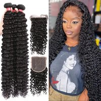 Human Hair Bulks Luvin 4x4 5x5 HD Lace Closure 30 40Inch Loose Deep Wave Bundles With Brazilian Water Curly 3 4 Frontal