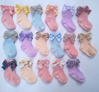 Creative Fun baby kids bow Floor socks Boy Girls 100% cotton Knitted children's comfortable Solid Color Letter Anti-Skidding socks 0-1Y