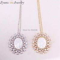 Pendant Necklaces 5 Strands ZYZ323-8868 Gold  Silver Color Crystal Zircona Virgin Mary Pendant, Mother Of Pearl Shell Necklace