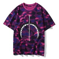 21SS летний камуфляж акула рот тройник мужчин и женщин Trend повседневная пара половина рукава чистый хлопок короткая футболка
