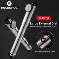 ROCKBROS Bicycle Pump with Barometer High Pressure Ultralight Mini Portable Inflator Aluminium Alloy CNC Dustproof