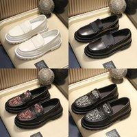 مصمم الرجال عارضة الأحذية B22 B23 جلد طبيعي المتسكعون الجلود الشقق د طباعة البغال منصة الأحذية الكلاسيكية إلكتروني أسود أبيض فاخر أحذية
